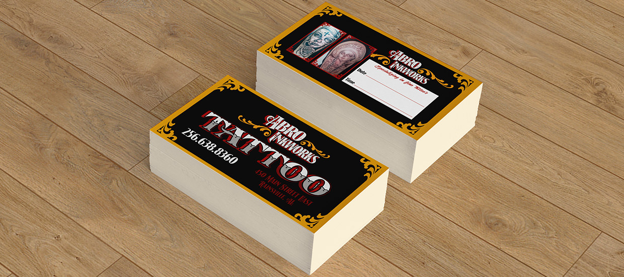 Accel Graphics   ABRO Inkworks Tattoo Shop Business Card Design