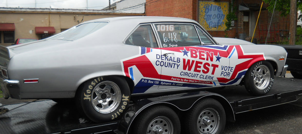 Vehicle wrap for a political campaign for Ben West.