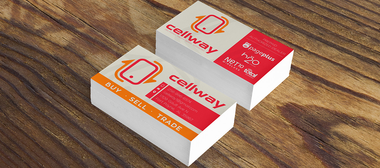 Business Card Design for Cellway, a cell phone repair, sales, and accessories company.