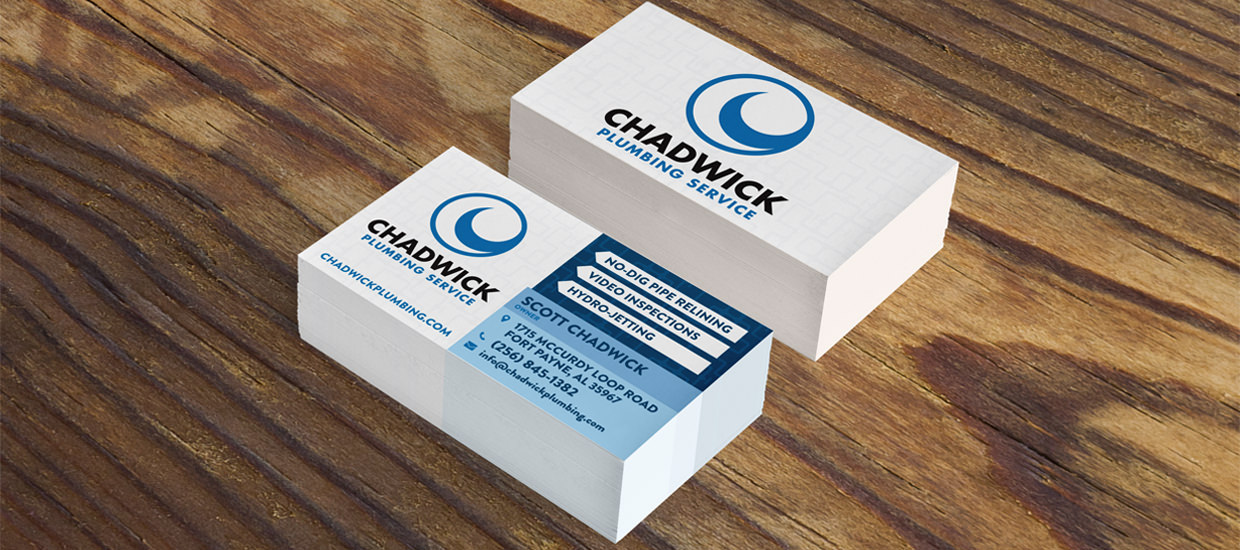 Business card design for Chadwick Plumbing Service.