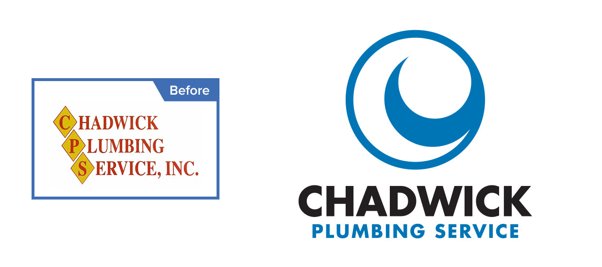 Before and after of our logo redesign for Chadwick Plumbing Service.
