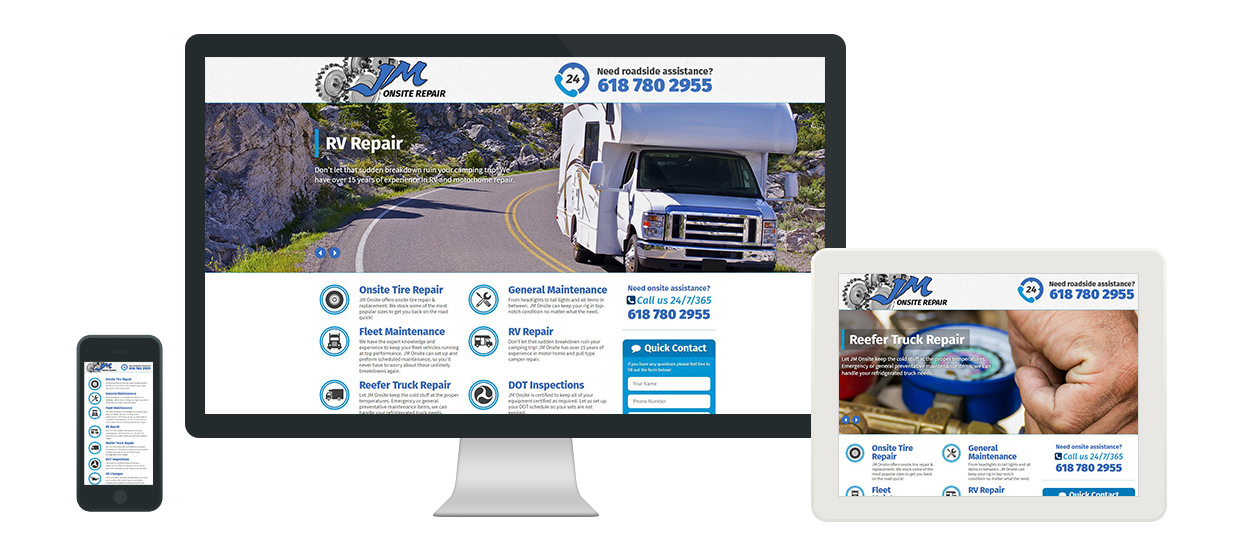 Website design for JM Onsite Repair, an on-site vehicle repair company serving Alabama and Tennessee.