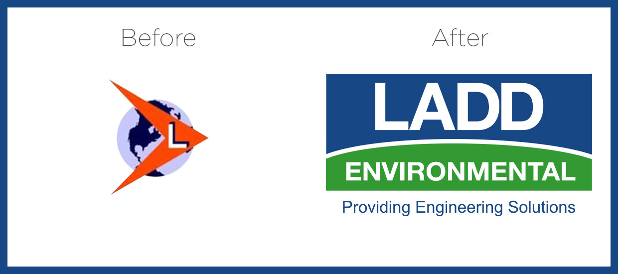 Before and After for Ladd Engineering's logo.