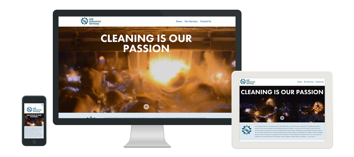 Responsive website design for Lee Industrial Services, a metal stripping company located in Huntsville, AL.