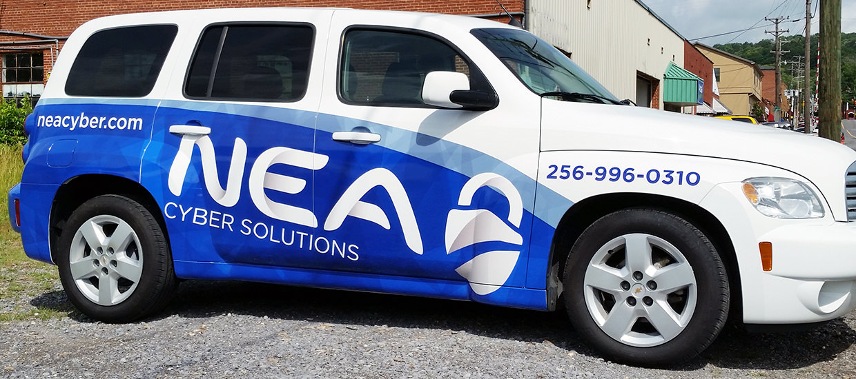 Partial HHR Wrap for NEA Cyber Solutions, a computer security firm located in Fort Payne, Alabama.
