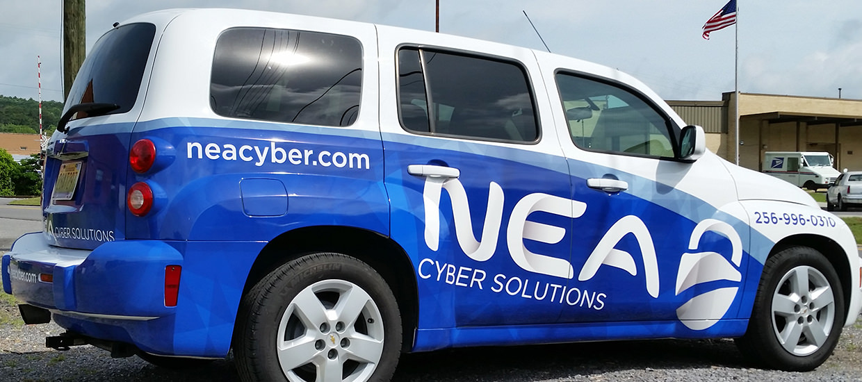 Partial Car Wrap for NEA Cyber Solutions, a computer security firm located in Fort Payne, Alabama.