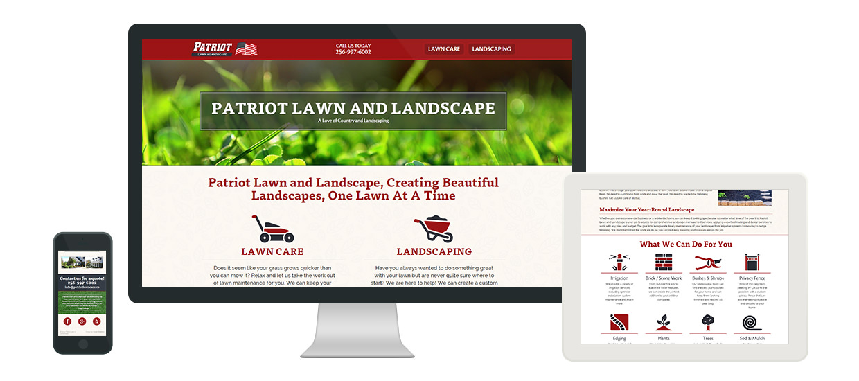 Responsive website design for a lawn care and landscaping service located in Fort Payne, AL.
