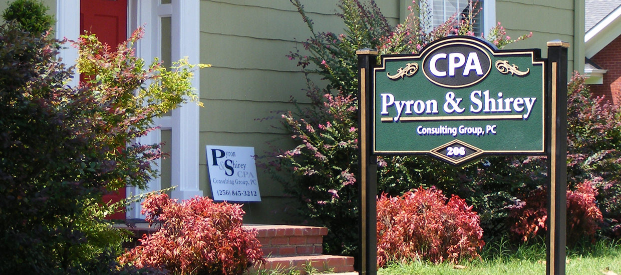 Sandblasted sign for Pyron & Shirey Consulting Group.