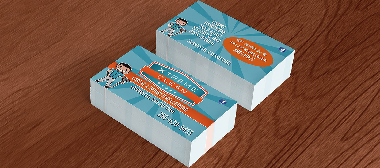 Business cards for Xtreme Clean, a carpet cleaning company based in Valley Head, Alabama.