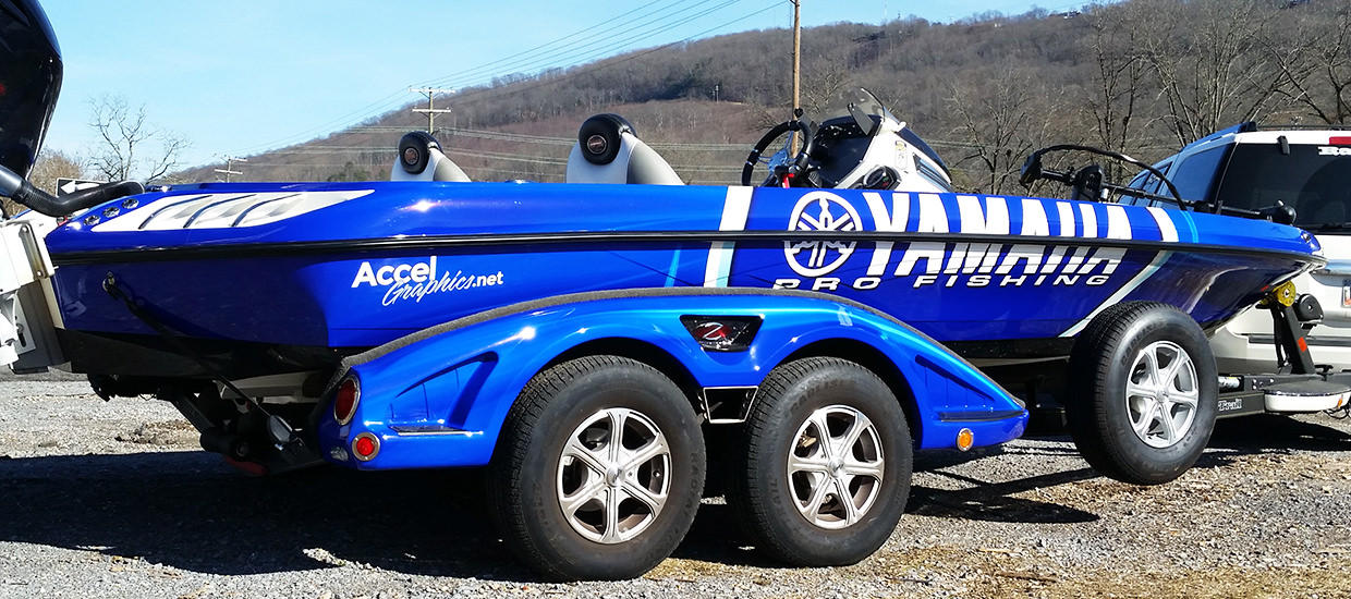Full fishing boat wrap for a Yamaha Pro Fishing sponsored fisherman.