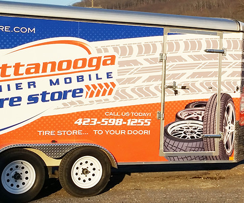 Chattanooga Premier - Mobile Tire Store Trailer and Truck Wrap