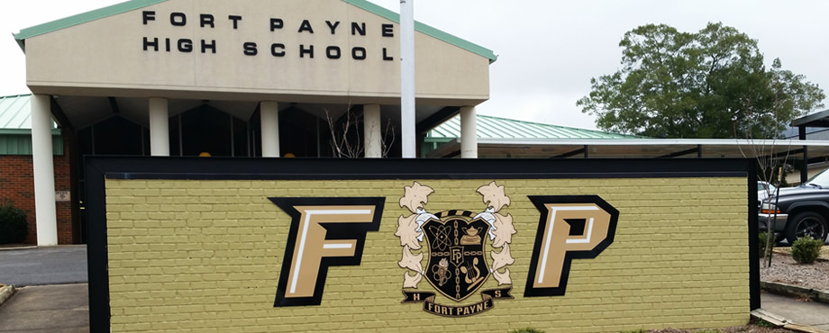High school polymetal cut logo sign