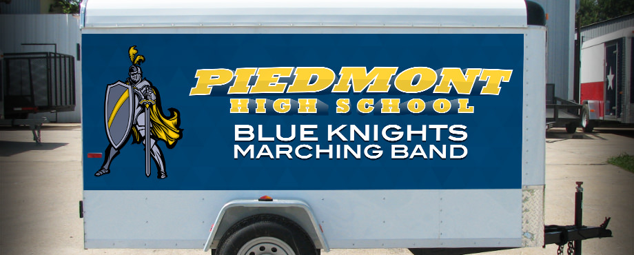 High school marching band equipment trailer partial wrap