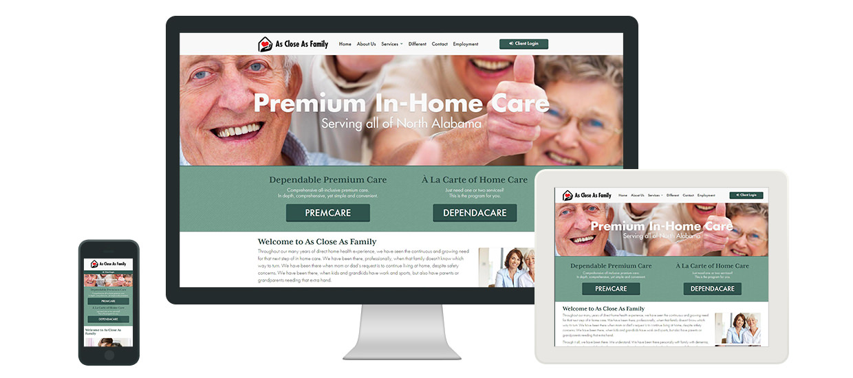 Website design for As Close As Family in Rainsville, AL.
