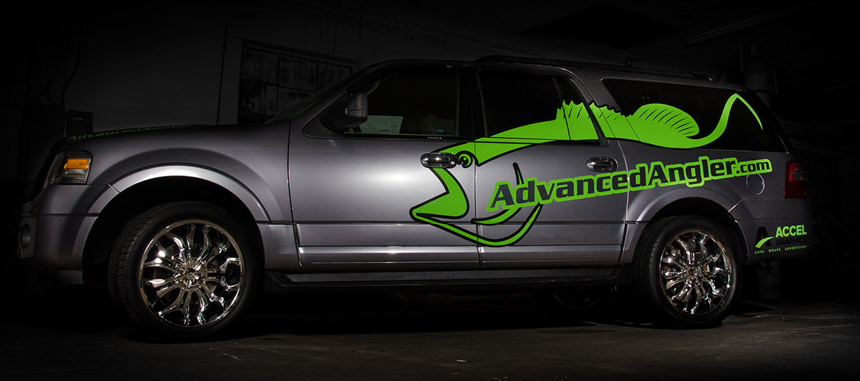 Color change truck wrap for Advanced Angler, located in Rainbow City, AL.