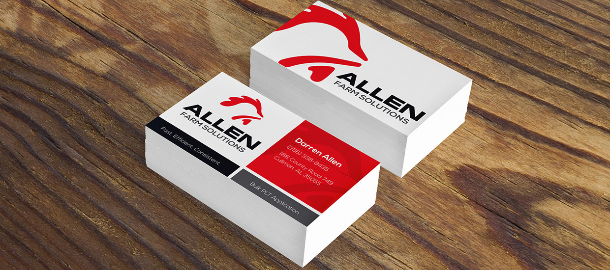 Business Cards for Allen Farm Solutions, a Cullman, Alabama poultry farming company.