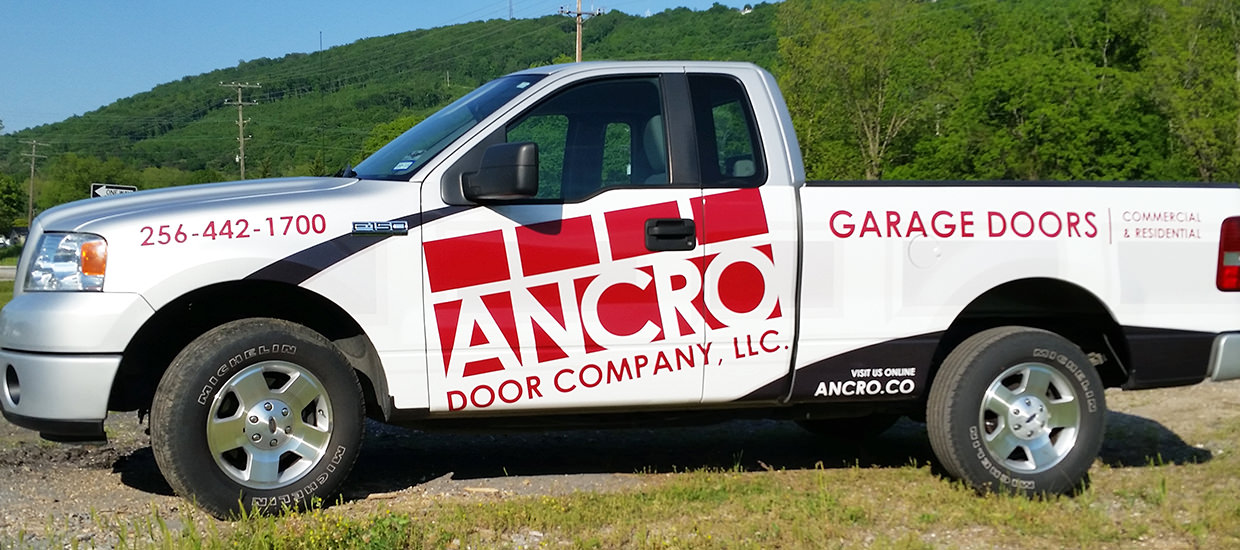 Partial truck wrap Gadsden, Alabama for Ancro Door Company.