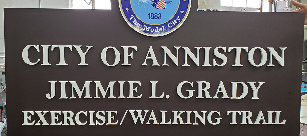 Routed Dimensional Sign for the City of Anniston.