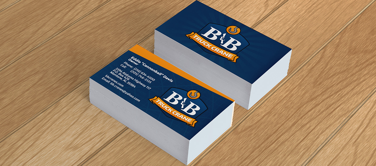 Business card design for B&B Truck Crane - An Auto Crane truck crane dealer located in Mentone, AL.