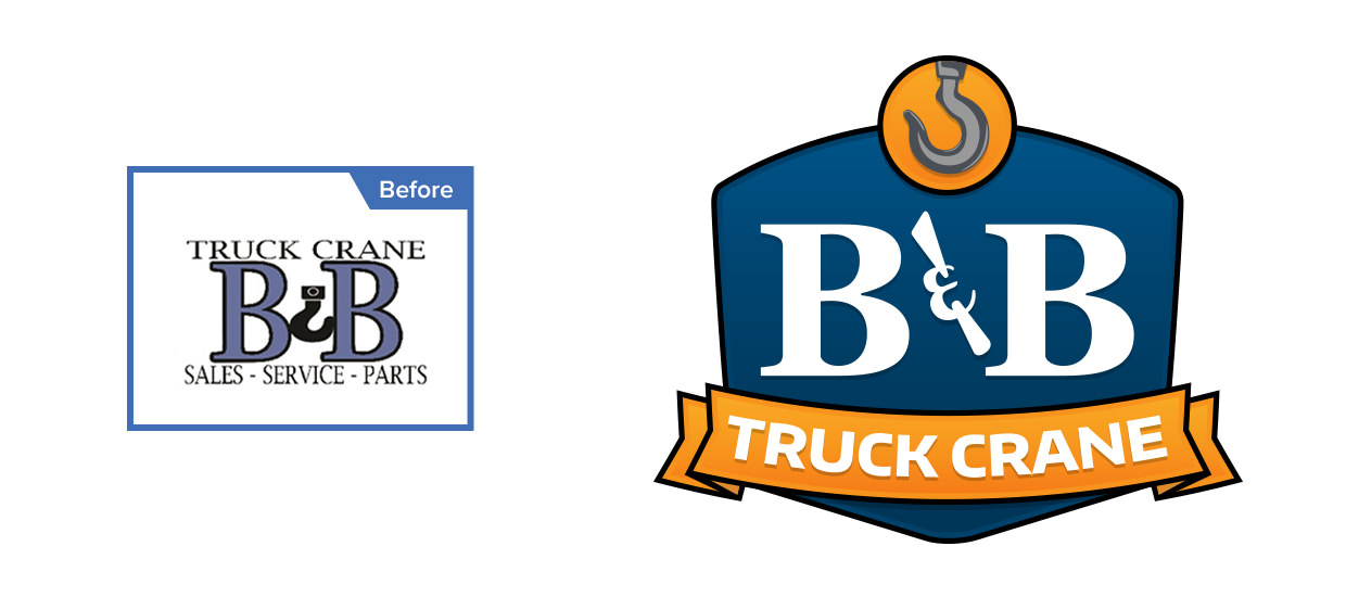Before and after of our redesign of B&B Truck Crane's logo.