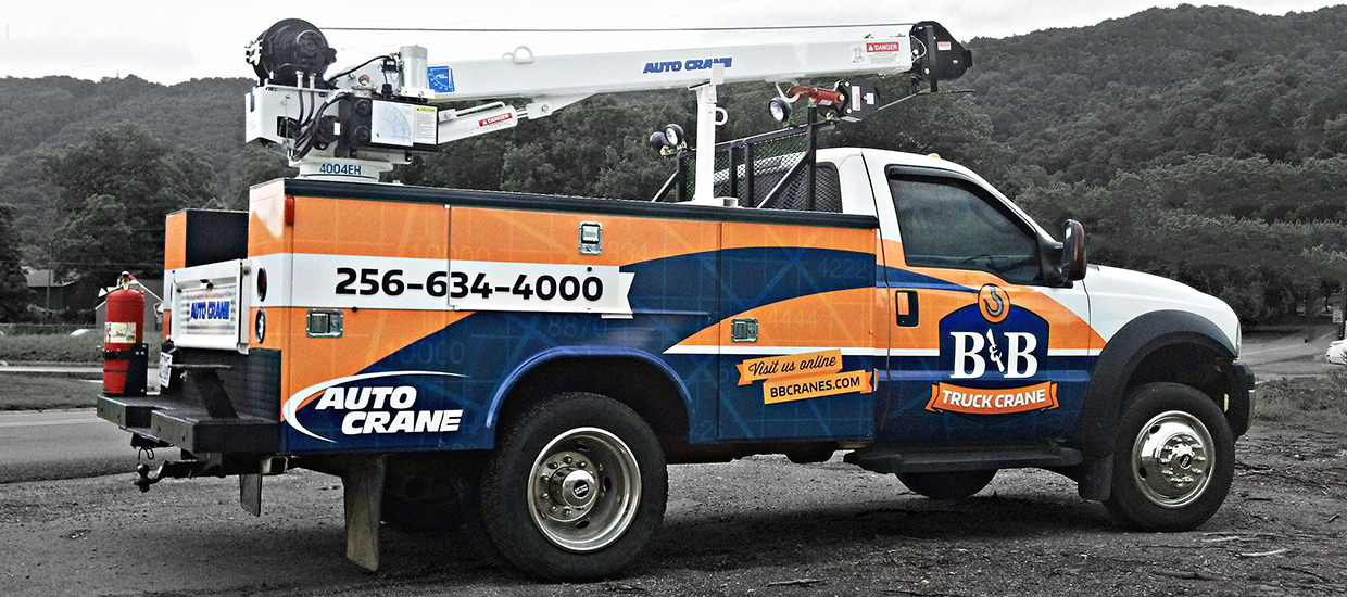 Vehicle Wrap Design for B&B Truck Crane - An Auto Crane truck crane dealer located in Mentone, AL.