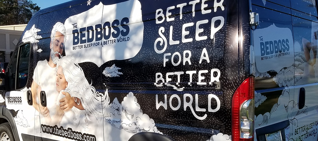 Van wrap install for Bed Boss, a Chattanooga, TN mattress store.