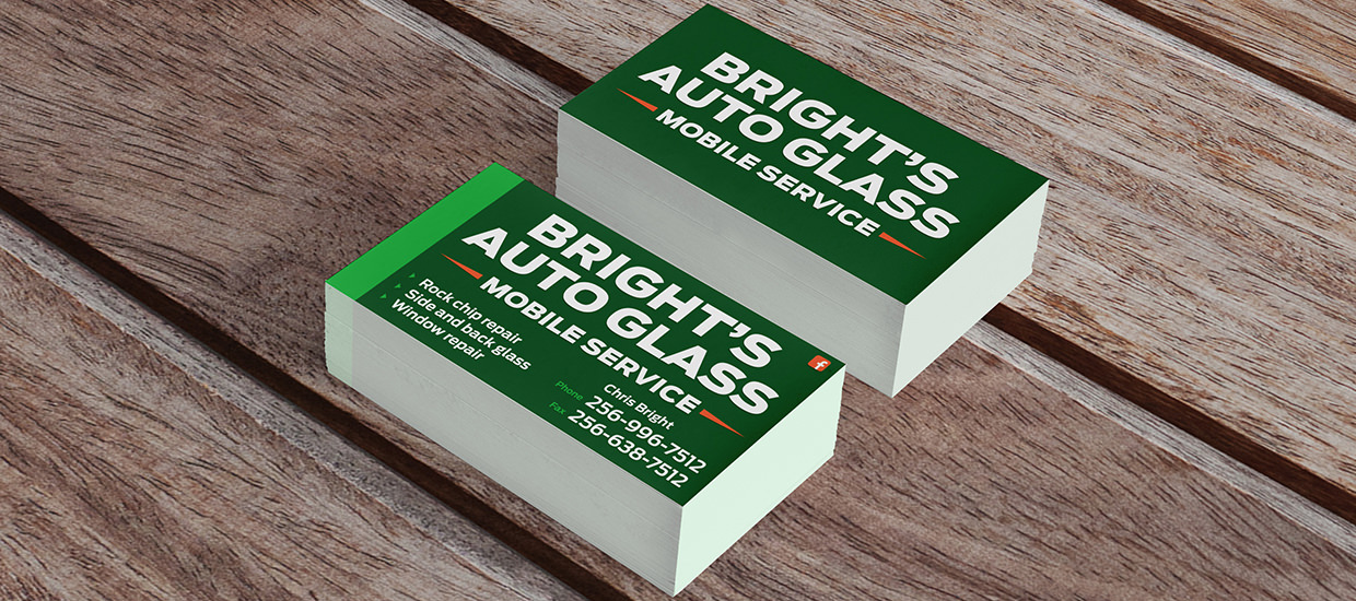 Business cards for Bright's Auto Glass