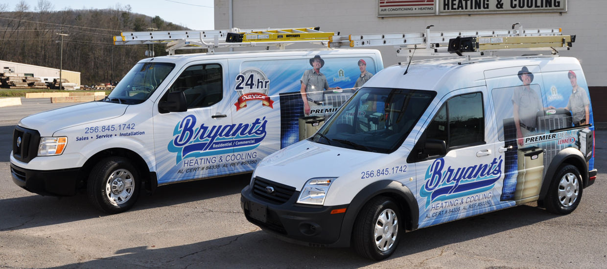 Vehicle Wrap design for Bryant's Heating and Cooling, An HVAC company located in Fort Payne, AL