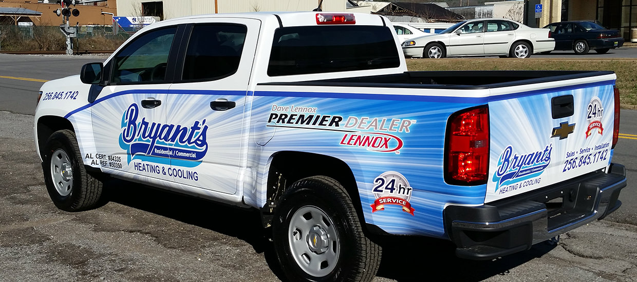 Partial truck wrap design for Bryant's Heating and Cooling