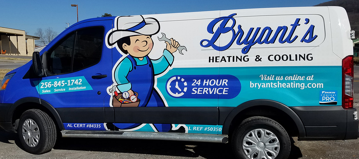Van wrap design for Bryant's Heating and Cooling, An HVAC company located in Fort Payne, AL