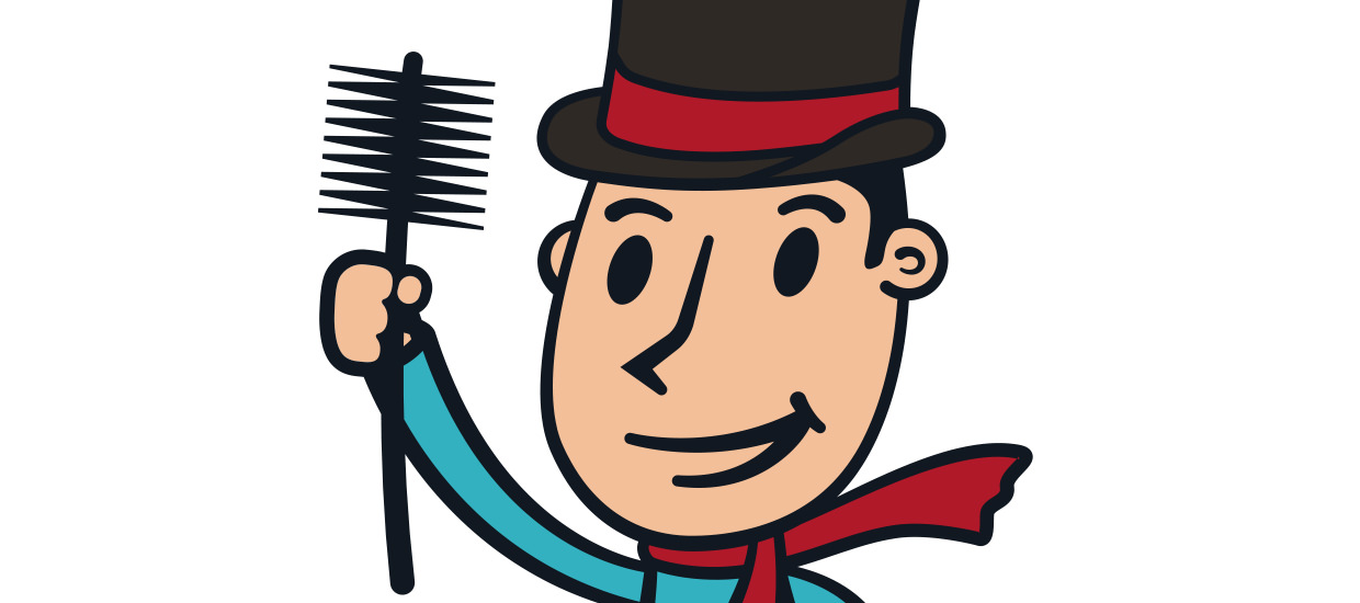 Retro style mascot design for Chimney Pro, a Dalton, Georgia chimney sweep company.