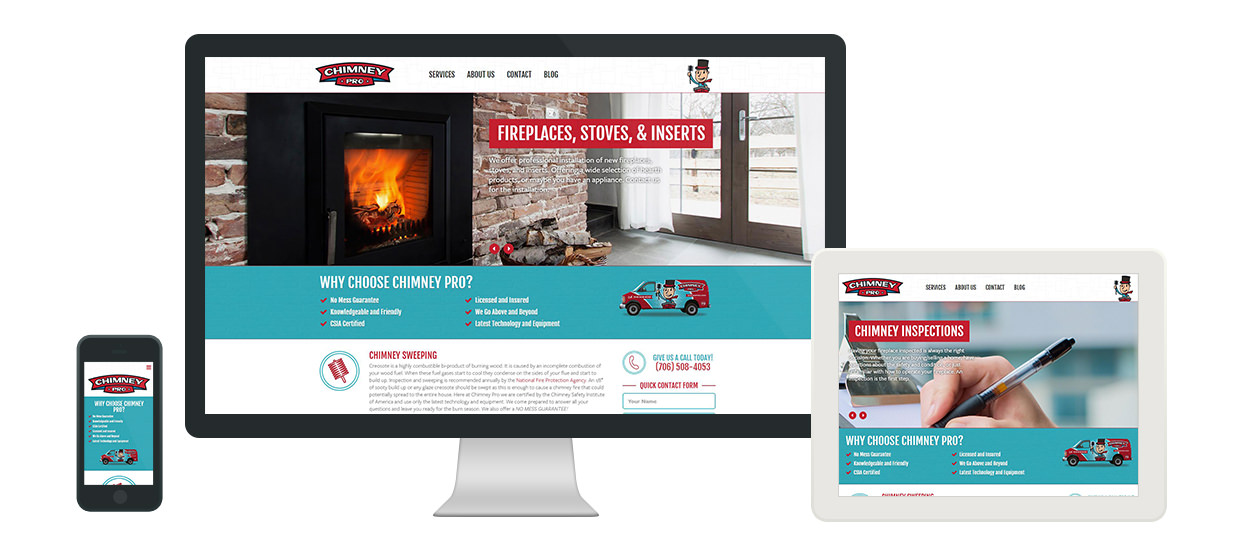 Fully responsive web design for Chimney Pro.