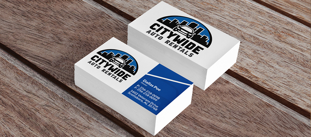 Business Card Design for Citywide Auto Rentals.