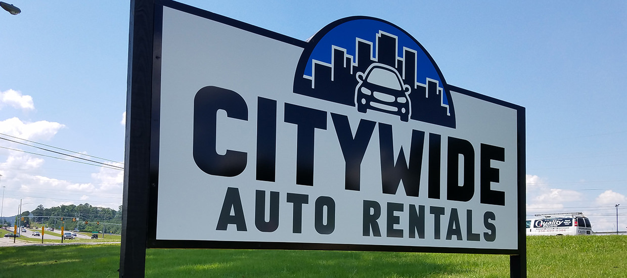 Signage for Citywide Auto Rentals.