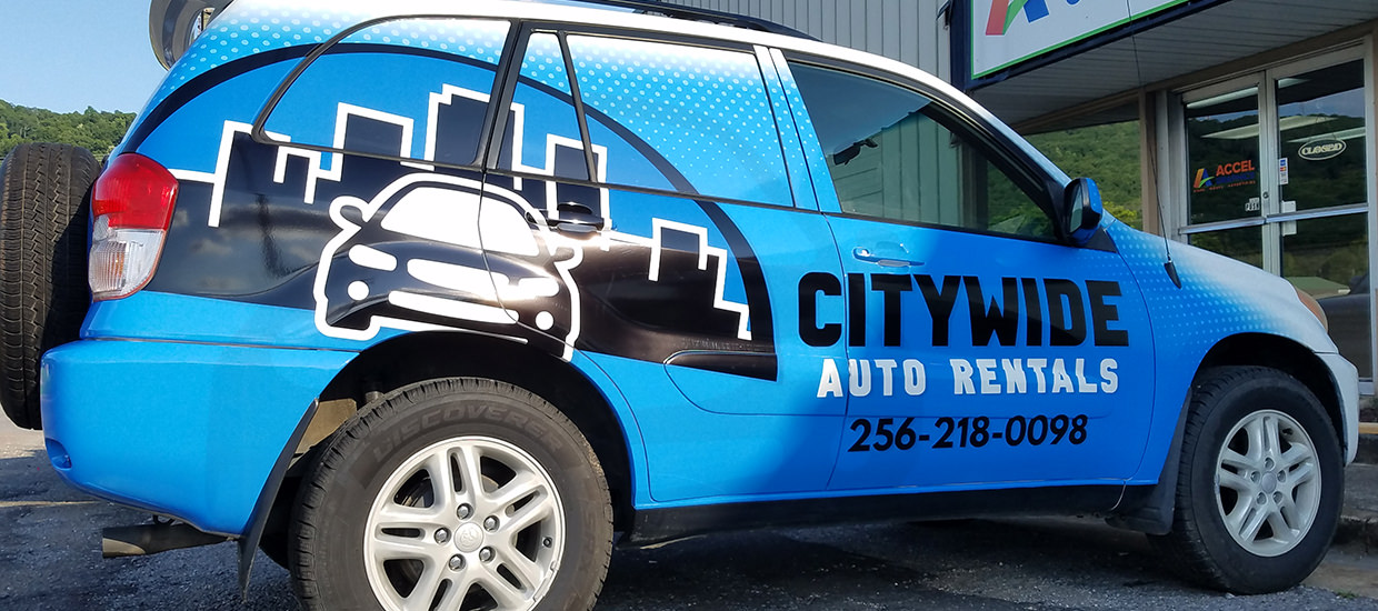 SUV Wrap for Citywide Auto Rentals.