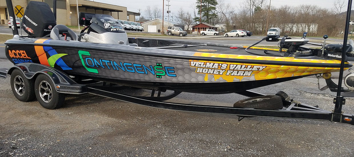 Full fishing boat wrap for a Contingense sponsored fisherman.