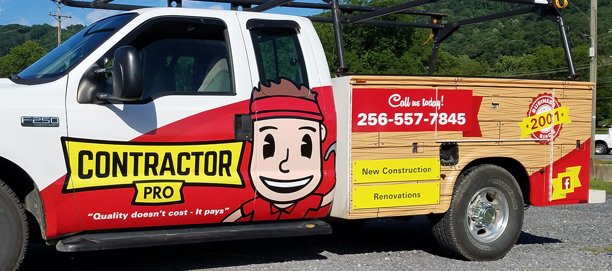 Partial Truck Wrap for Contractor Pro, an Alabama contractor.