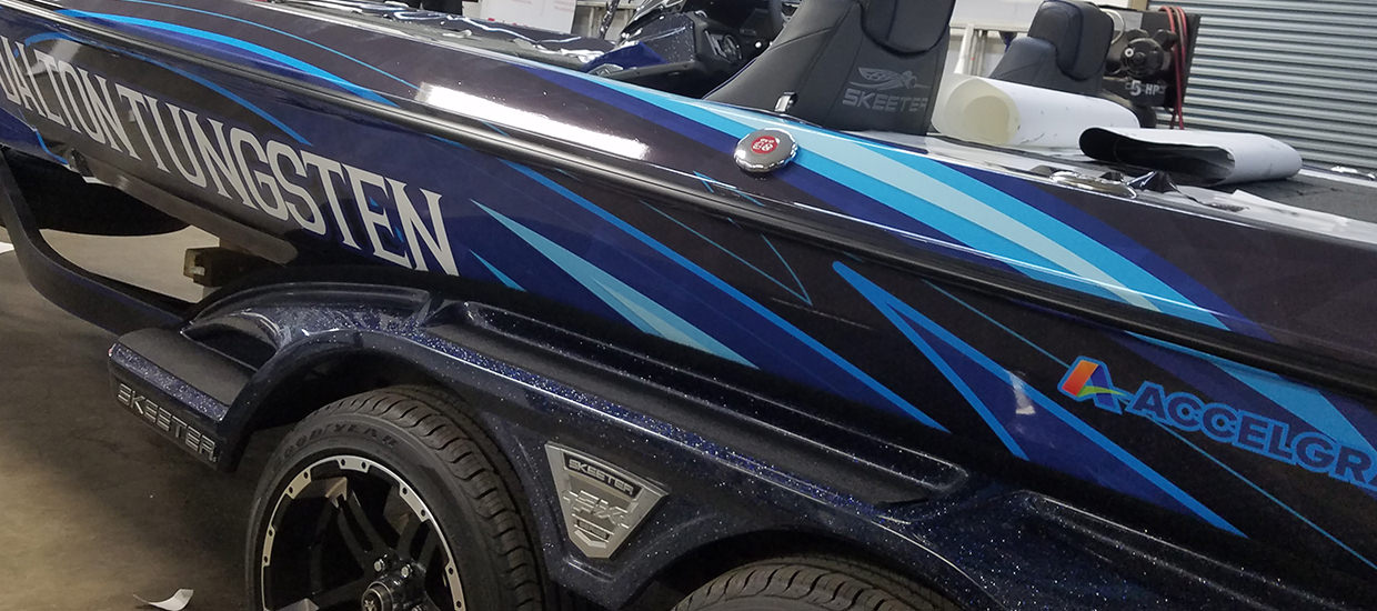 Dalton Tunsten bass boat wrap for Marty Brown.