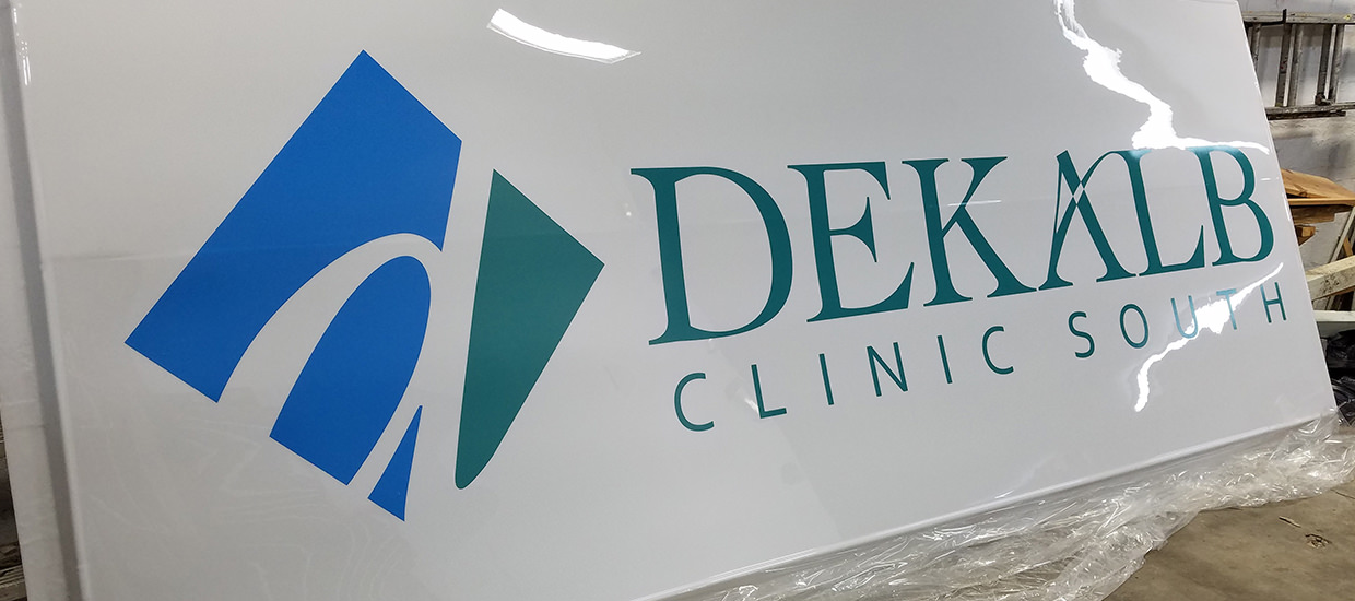 Lighted Sign for DeKalb Clinic South in Collinsville, AL.