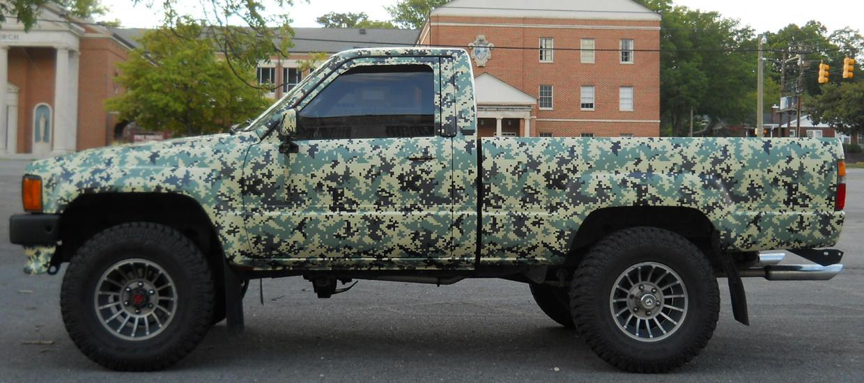 Custom Digital Camouflage vehicle wrap for a customer