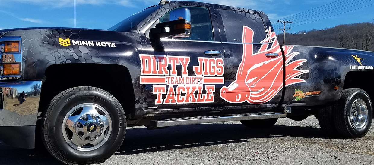 Truck wrap design and instalation for a Dirty Jigs sponsored fisherman.