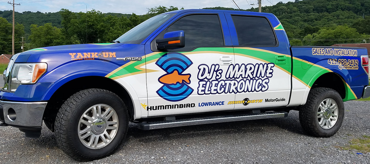 Full Truck Wrap Design and Installation for DJ's Marine Electronics in Ringgold, GA.