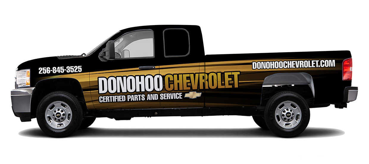 Truck Wrap Design for Donohoo Chevrolet.