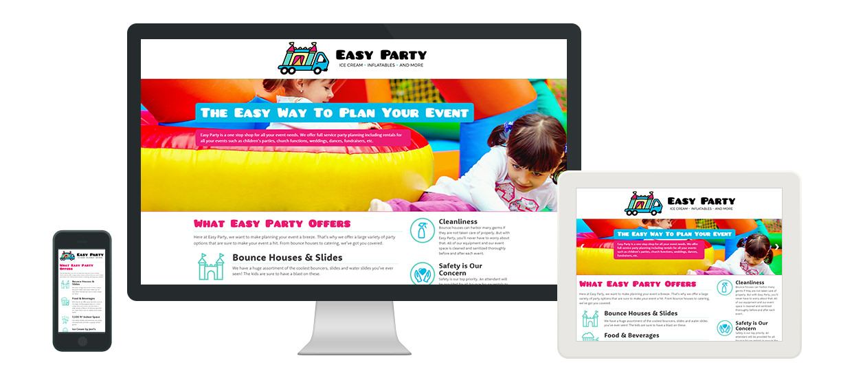 Responsive web design for Easy Party.