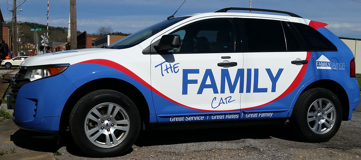 Full Vehicle Wrap install for Family Savings Credit Union in Scottsboro, AL.