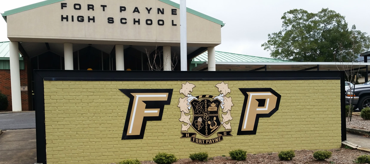Custom Polymetal signs for the entrance area of Fort Payne High School in Fort Payne, AL.