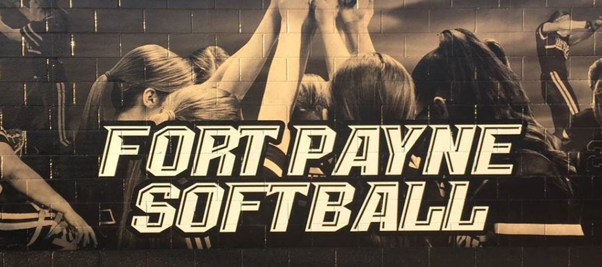 Custom Wall Wrap For Fort Payne High School's Softball Team Mounted On A Concrete Wall.