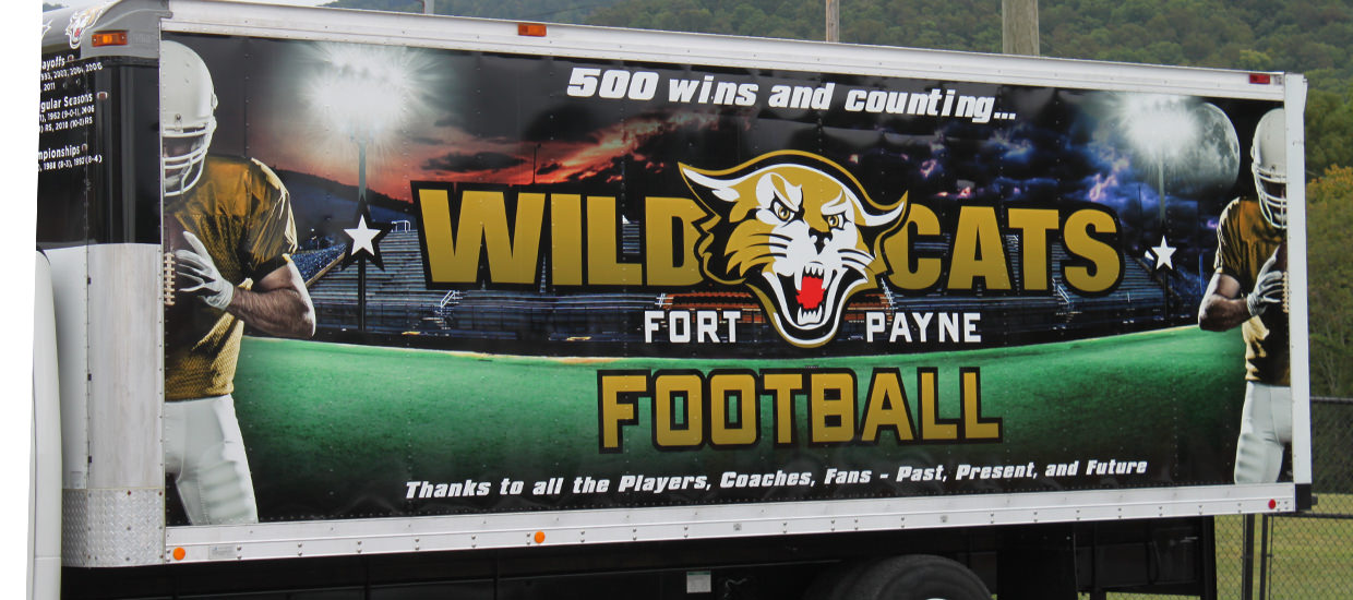 Box truck wraps for Fort Payne High School.
