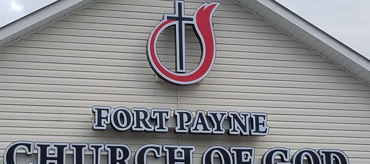 Channel letter sign for Fort Payne Church of God in Fort Payne, Alabama.