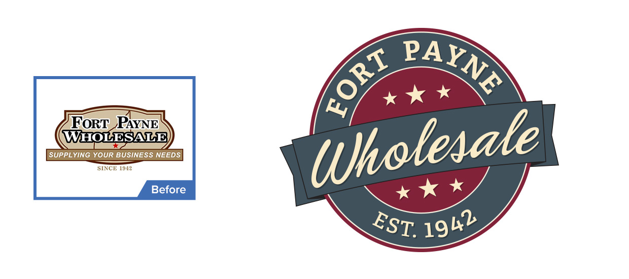 Before and after of our redesign of Fort Payne Wholesale's logo.